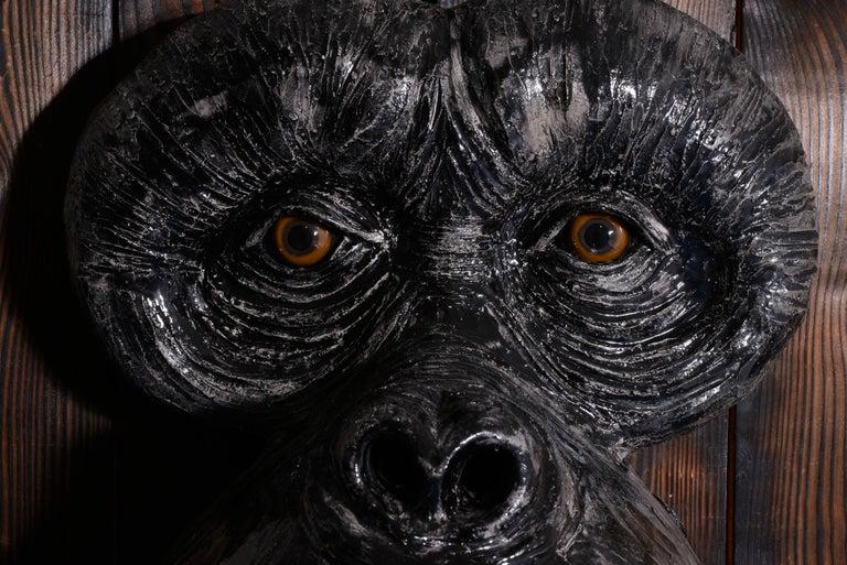 Monkey's Face - Black Figurative Sculpture by Mariko