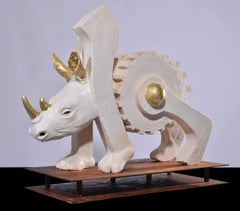 The Machine - Rhino Contemporary Ceramic Sculpture