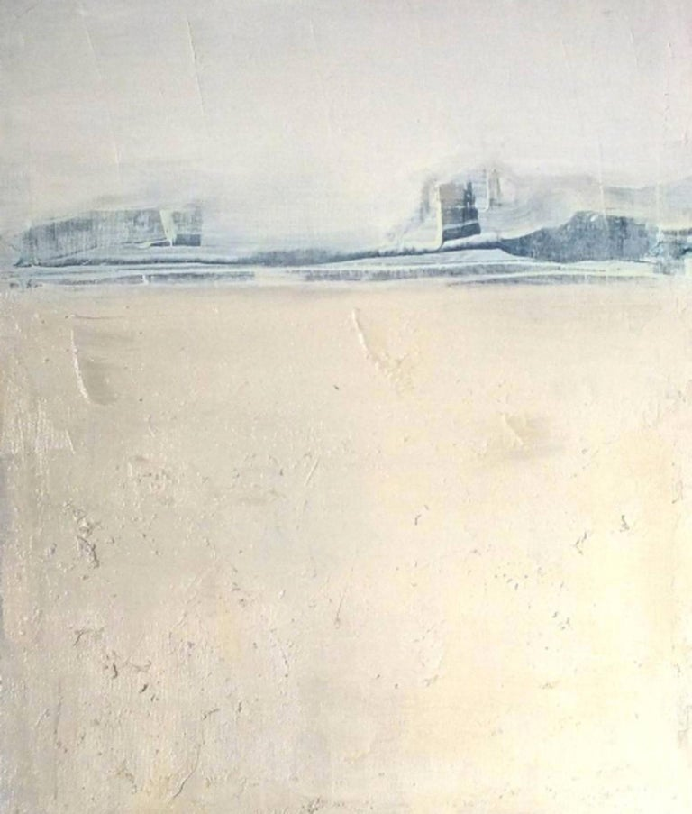 Blue Landscape, Marilina Marchica, Minimalist Abstract, Landscape, Pastel Color - Beige Landscape Painting by Marilina Marchica