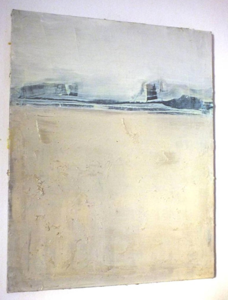 'Blue Landscape' by Marilina Marchica - a beautiful minimalist abstraction with accents of blue resembling a view of a beach and a sea line. Landscapes, cityscapes, nature, and charm of decaying city walls remain a major focus of the artist's