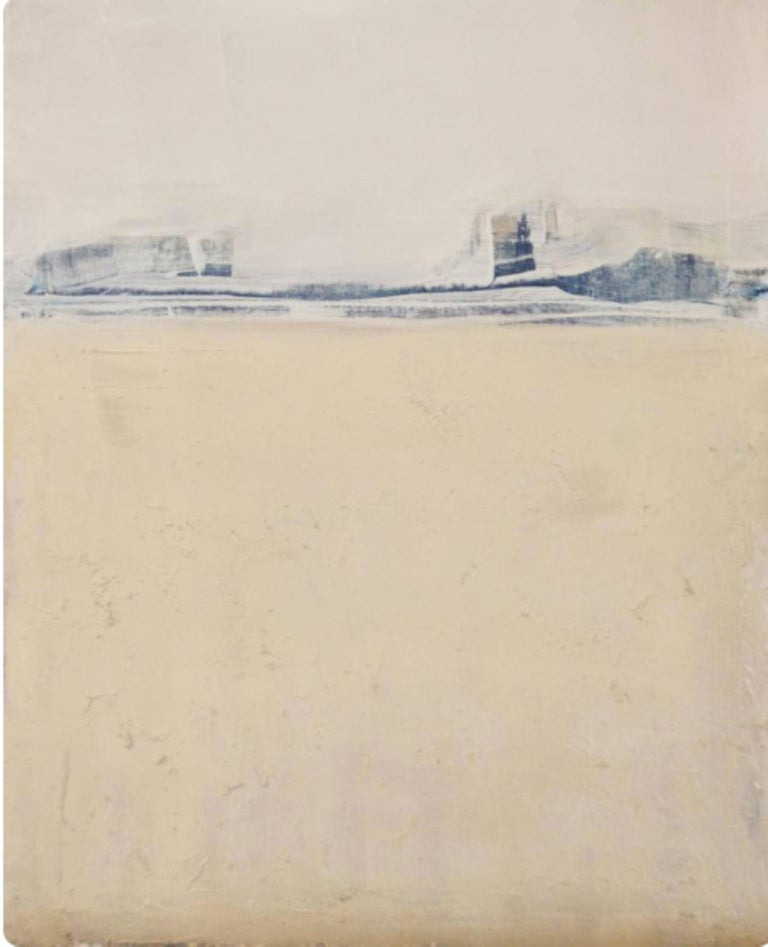 Blue Landscape, Marilina Marchica, Minimalist Abstract, Landscape, Pastel Color - Painting by Marilina Marchica