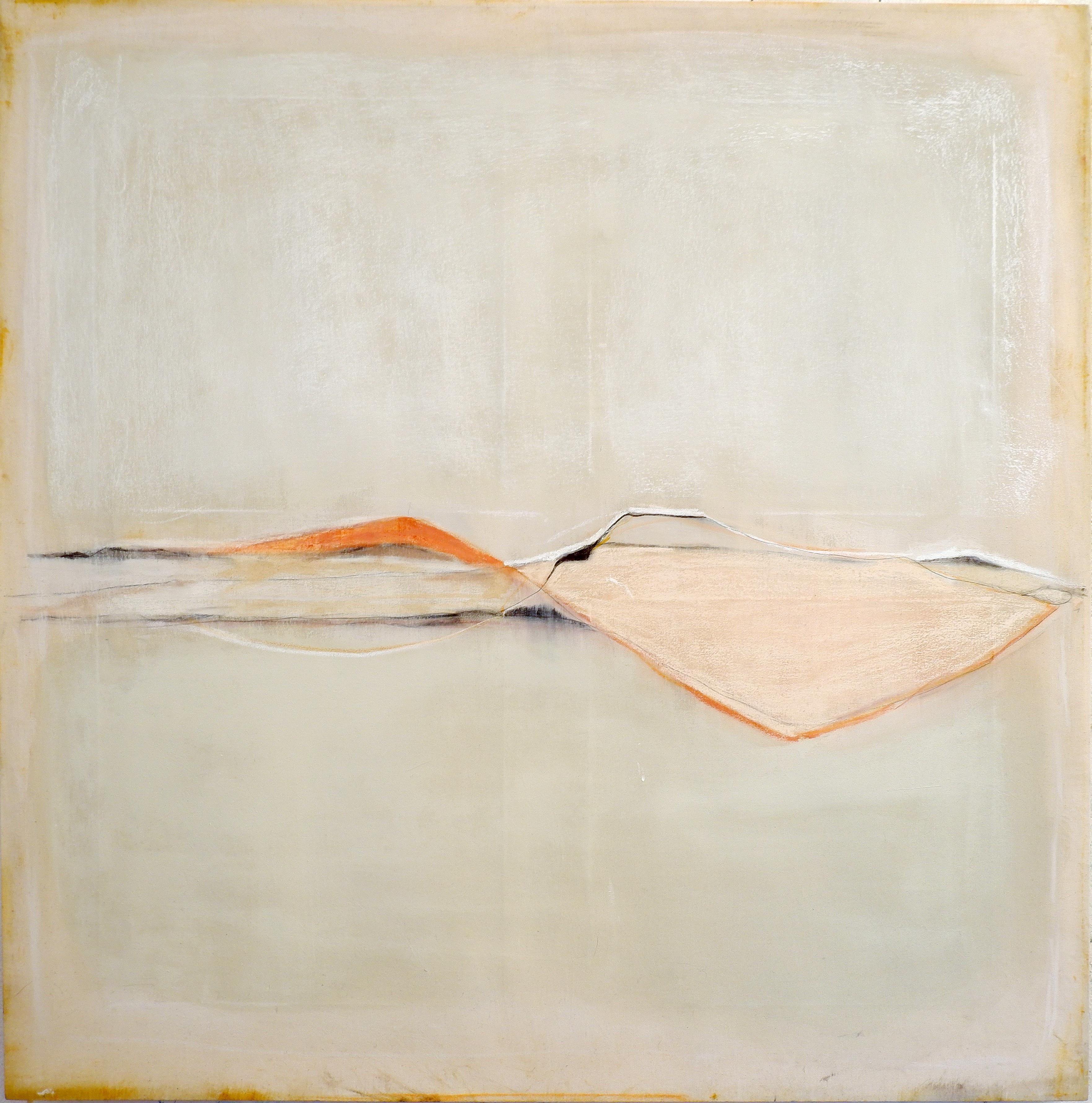 Landscape 106, Contemporary Mixed media Abstract Minimalist Yellow Monochrome