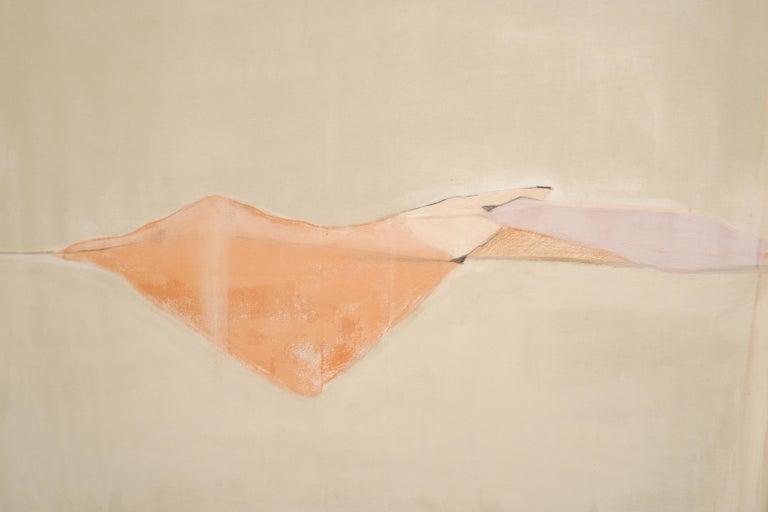 Landscape 107, Contemporary Mixed media Canvas Abstract Minimalist Yellow Orange - Painting by Marilina Marchica