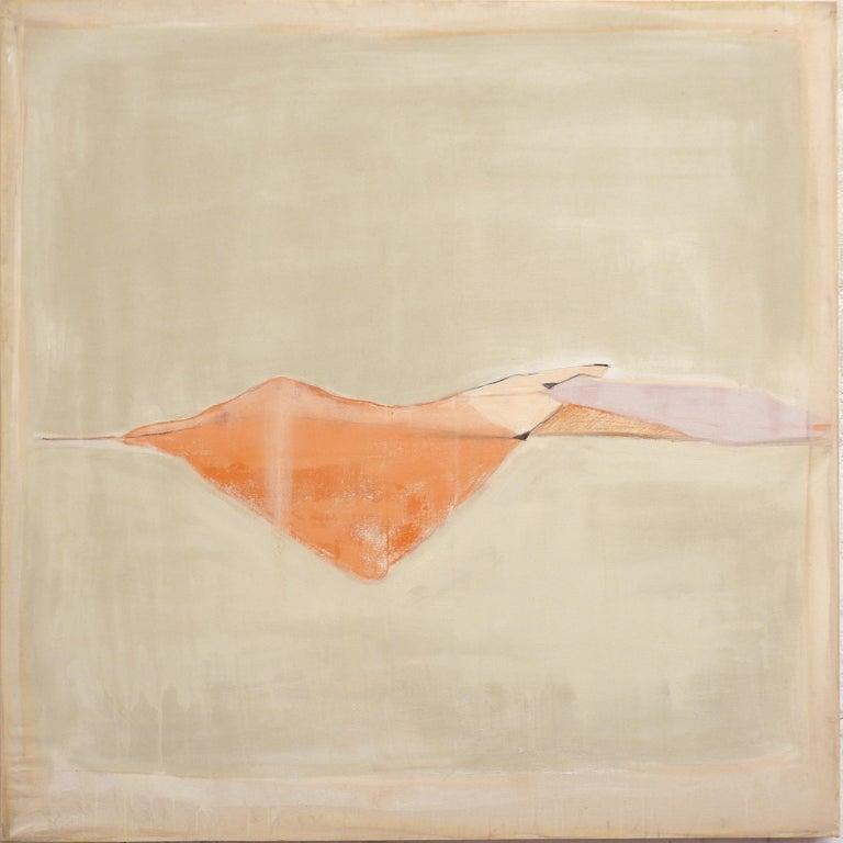 Marilina Marchica Landscape Painting - Landscape 107, Contemporary Mixed media Canvas Abstract Minimalist Yellow Orange