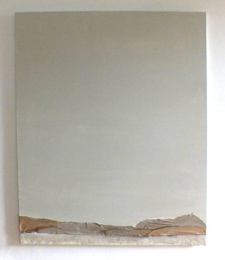 'Landscape 16' is an original minimalist abstract painting on canvas by emerging Sicilian artist - Marilina Marchica. It is a mixed media art piece which has a rich texture and authentic design. The subject is focused on Italian nature, sea views,