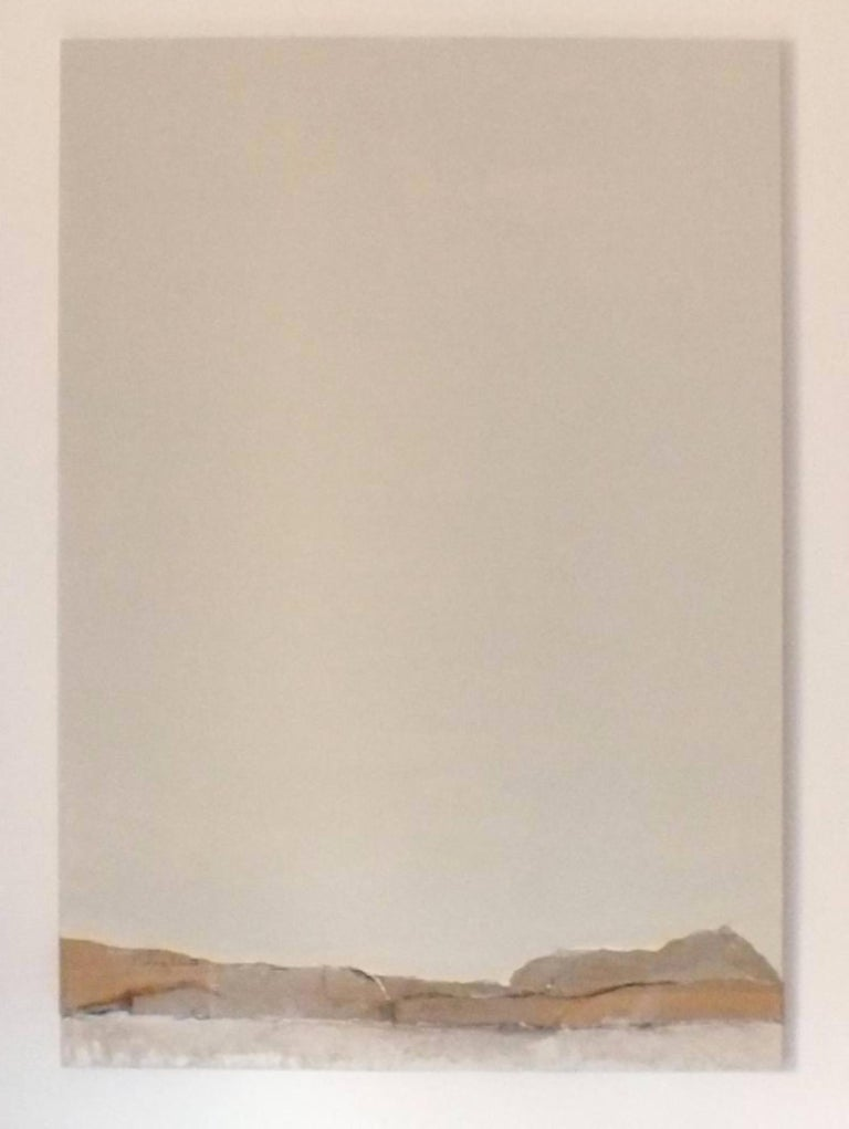 Landscape 16, Contemporary Minimalist Abstract Collage Brown Mixed media Beige For Sale 1