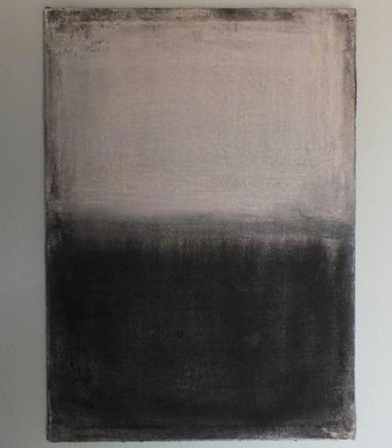 Landscape 21, Minimalist Mixed media Art Contemporary Abstract Black White - Painting by Marilina Marchica