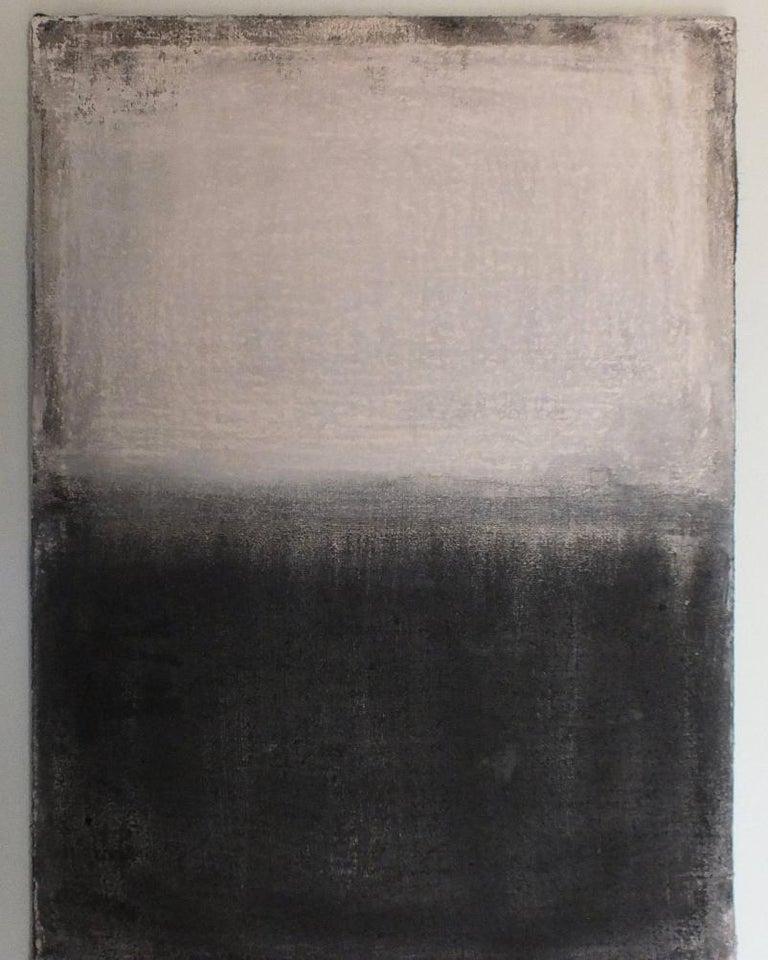 Landscape 21, Minimalist Mixed media Art Contemporary Abstract Black White - Gray Landscape Painting by Marilina Marchica