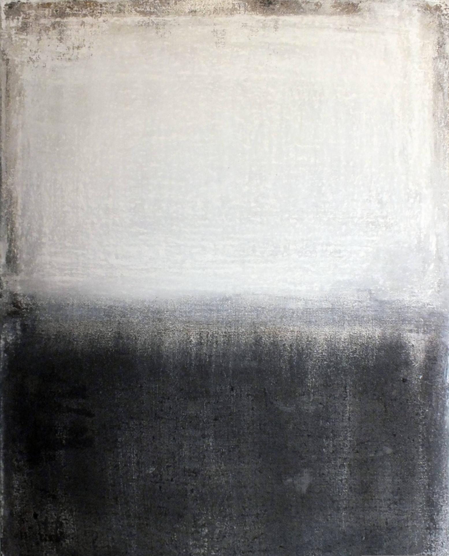 Landscape 21, Minimalist Mixed media Art Contemporary Abstract Black White