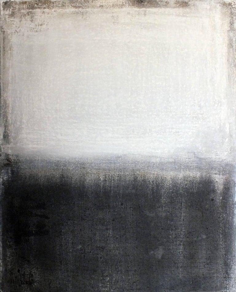 Marilina Marchica Landscape Painting - Landscape 21, Minimalist Mixed media Art Contemporary Abstract Black White
