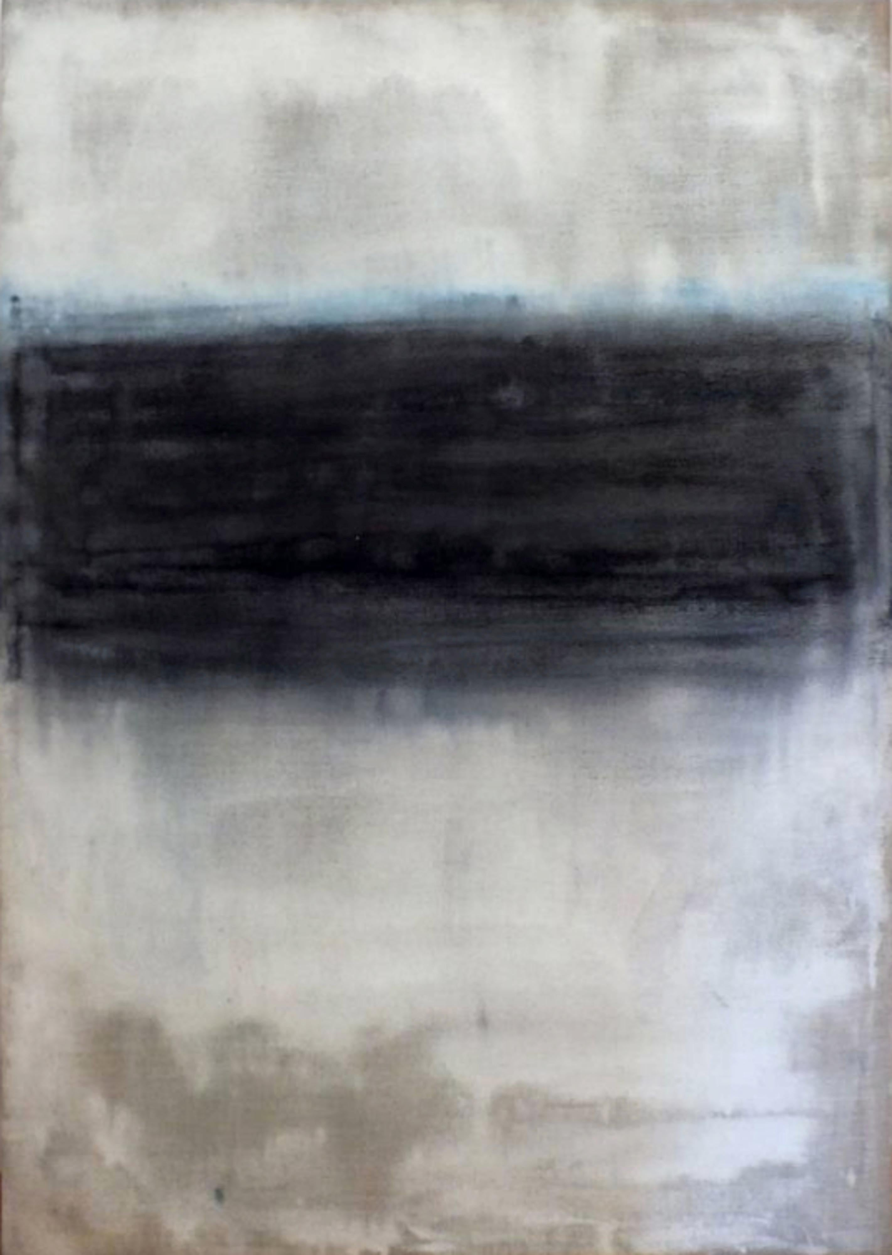 Landscape 32, Contemporary Minimalist Abstract Art Oil Painting Canvas Black