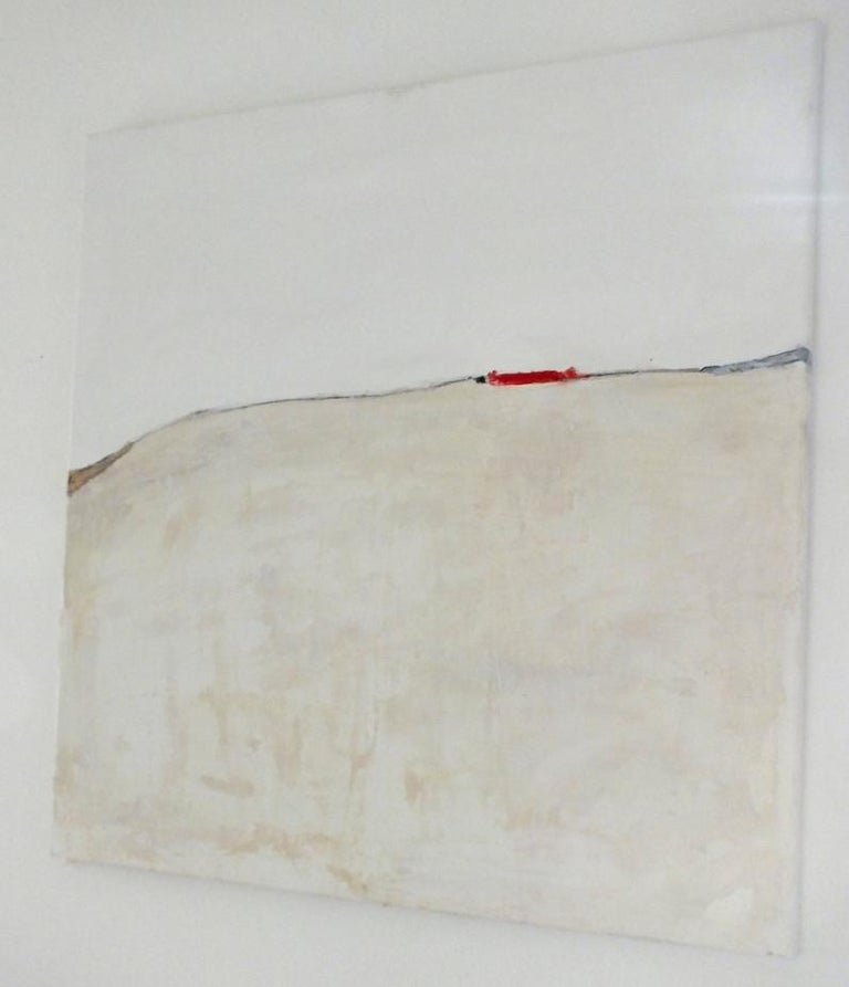 Landscape 37, Marilina Marchica, Minimalist Abstract, Red Accent, Urban, City  - Beige Landscape Painting by Marilina Marchica