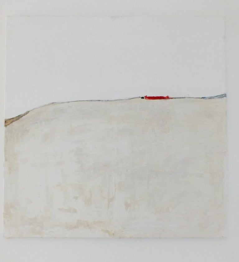 'Landscape 37' by Marilina Marchica  - a great minimalist abstract of a landscape with a few red accents. Cityscapes, nature, and charm of decaying buildings remain a major focus of the artist's creative process. This artwork brings a lot of light,