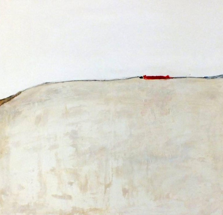 Landscape 37, Marilina Marchica, Minimalist Abstract, Red Accent, Urban, City  - Painting by Marilina Marchica