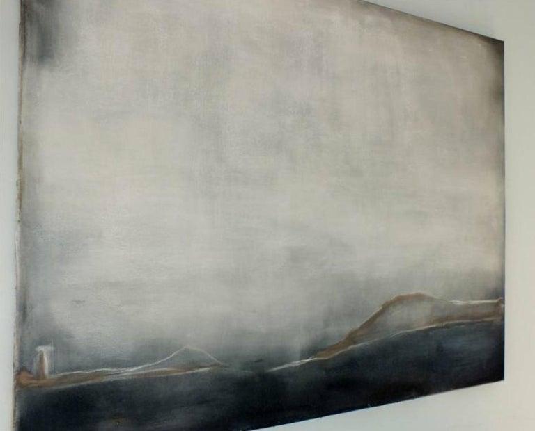 Landscape 38, Marilina Marchica, Minimalist Abstract, Sea View, Nature, Dark - Gray Abstract Painting by Marilina Marchica