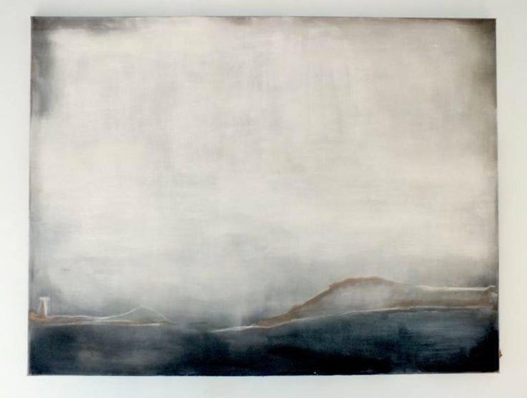 'Landscape 38' by Marilina Marchica  - a beautiful minimalist abstract painting of a dark seascape view. Cityscapes, nature, and charm of decaying buildings remain a major focus of the artist's creative process. The mixed-media texture, balanced