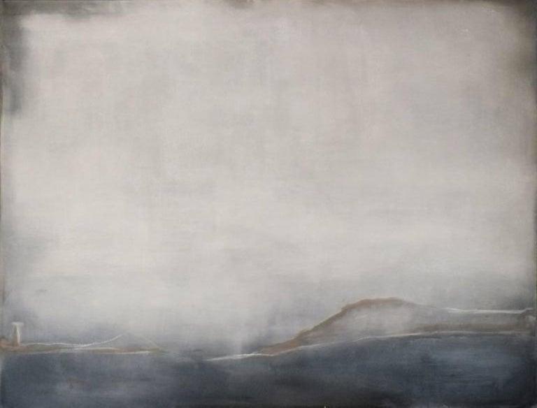 Landscape 38, Marilina Marchica, Minimalist Abstract, Sea View, Nature, Dark - Painting by Marilina Marchica
