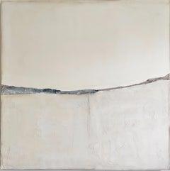 Landscape 51, Minimalist Abstract Mixed-media Canvas Monochrome White Grey Gray