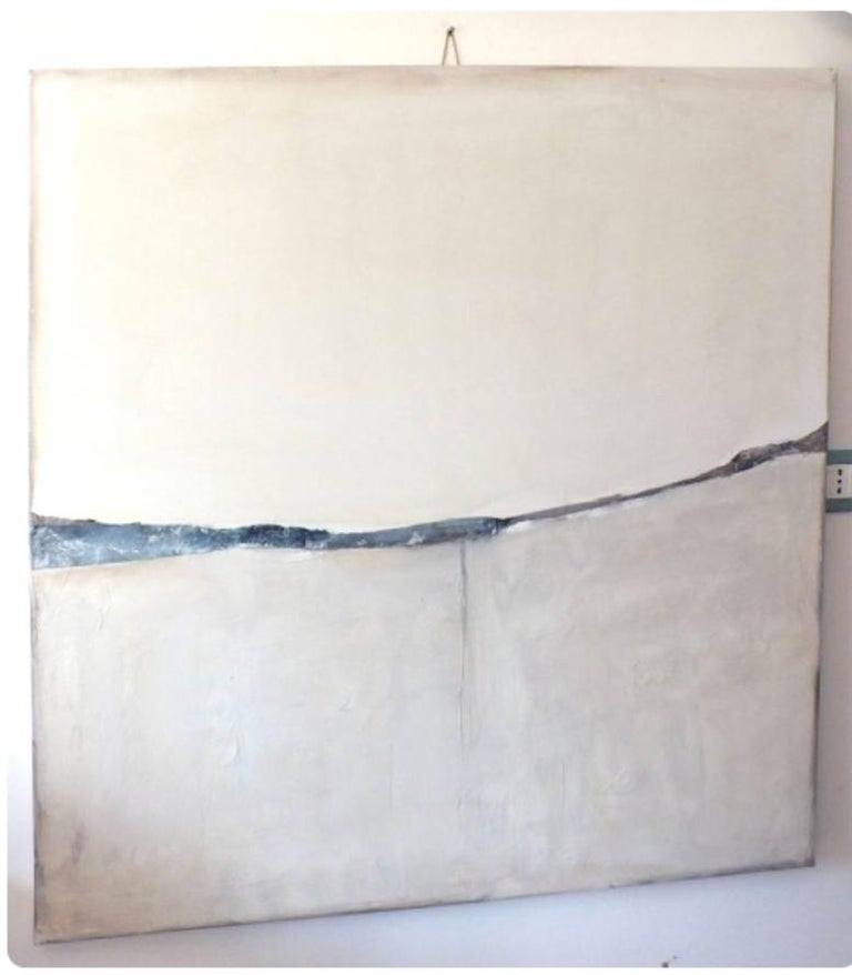 Landscape 51, Marilina Marchica, Minimalist Abstract, White Mixed-media, Nature - Gray Landscape Painting by Marilina Marchica