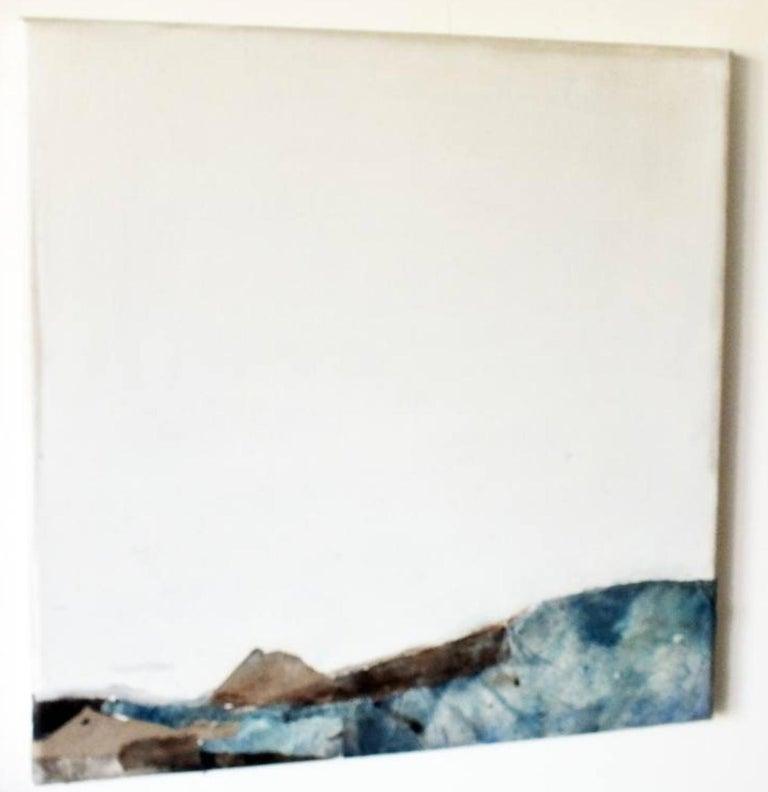 Landscape 53, Marilina Marchica, Minimalist Abstract, Blue Seascape, Mixed-media - Gray Abstract Painting by Marilina Marchica
