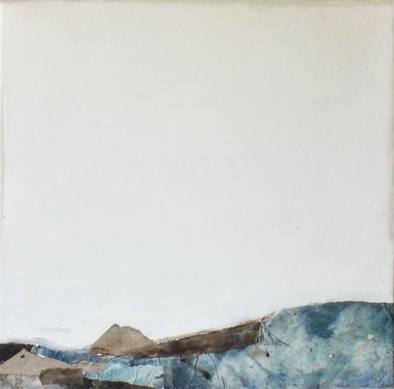 Landscape 53, Marilina Marchica, Minimalist Abstract, Blue Seascape, Mixed-media - Painting by Marilina Marchica