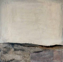 Landscape 54, Minimalist Abstract Art Mixed Media Canvas Paper Collage Brown