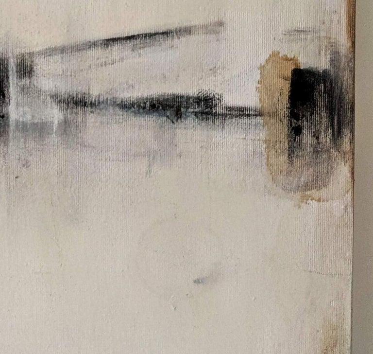 Landscape 56, Contemporary Abstract Art Mixed Media Minimalist Monochrome White - Gray Abstract Painting by Marilina Marchica