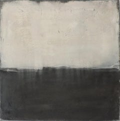 Landscape 60, Minimalist Abstract Mixed Media Painting Canvas Black White