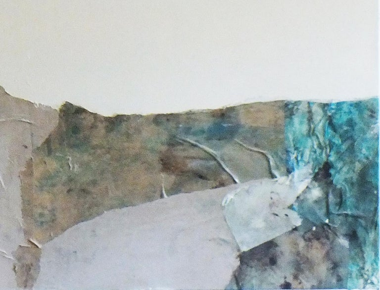 Landscape 63, Contemporary Abstract Mixed Media Minimalist Blue Collage Paper For Sale 1