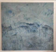 Landscape 66, Contemporary Abstract Art Oil Painting Minimalist Blue Canvas