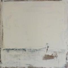 Landscape 68, Contemporary Abstract Art Mixed Media Minimalist White Nature