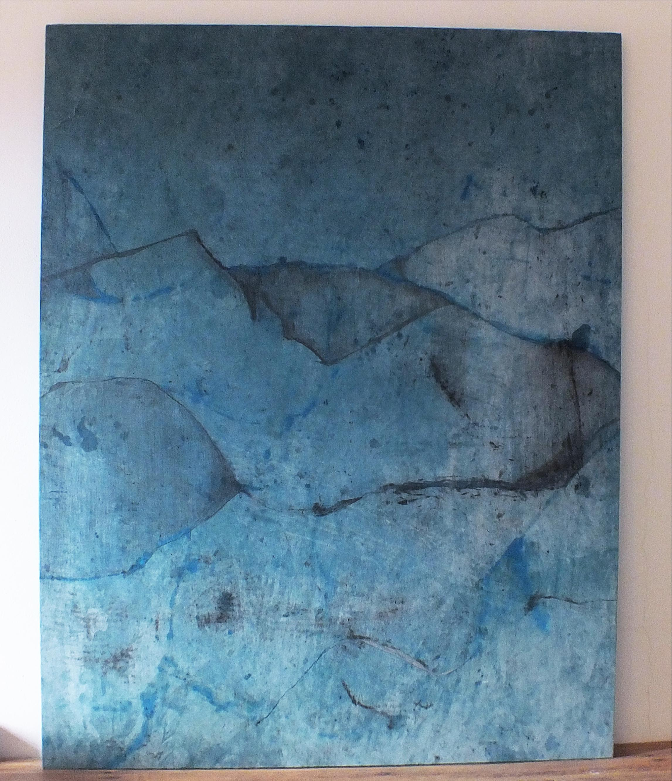 Landscape 74, Contemporary Minimalist Abstract Oil Painting Blue Canvas Graphite