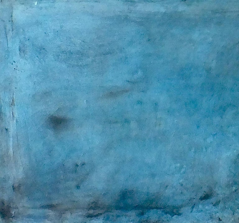 Landscape 75, Contemporary Minimalist Art Abstract Mixed media Oil Canvas Blue - Painting by Marilina Marchica