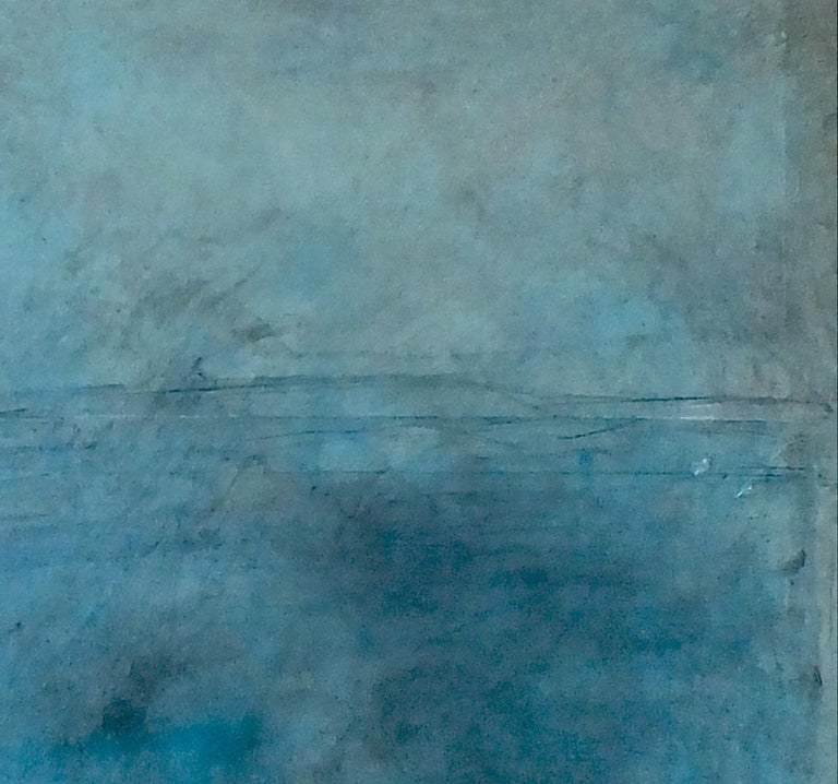 Landscape 75, Contemporary Minimalist Art Abstract Mixed media Oil Canvas Blue For Sale 1