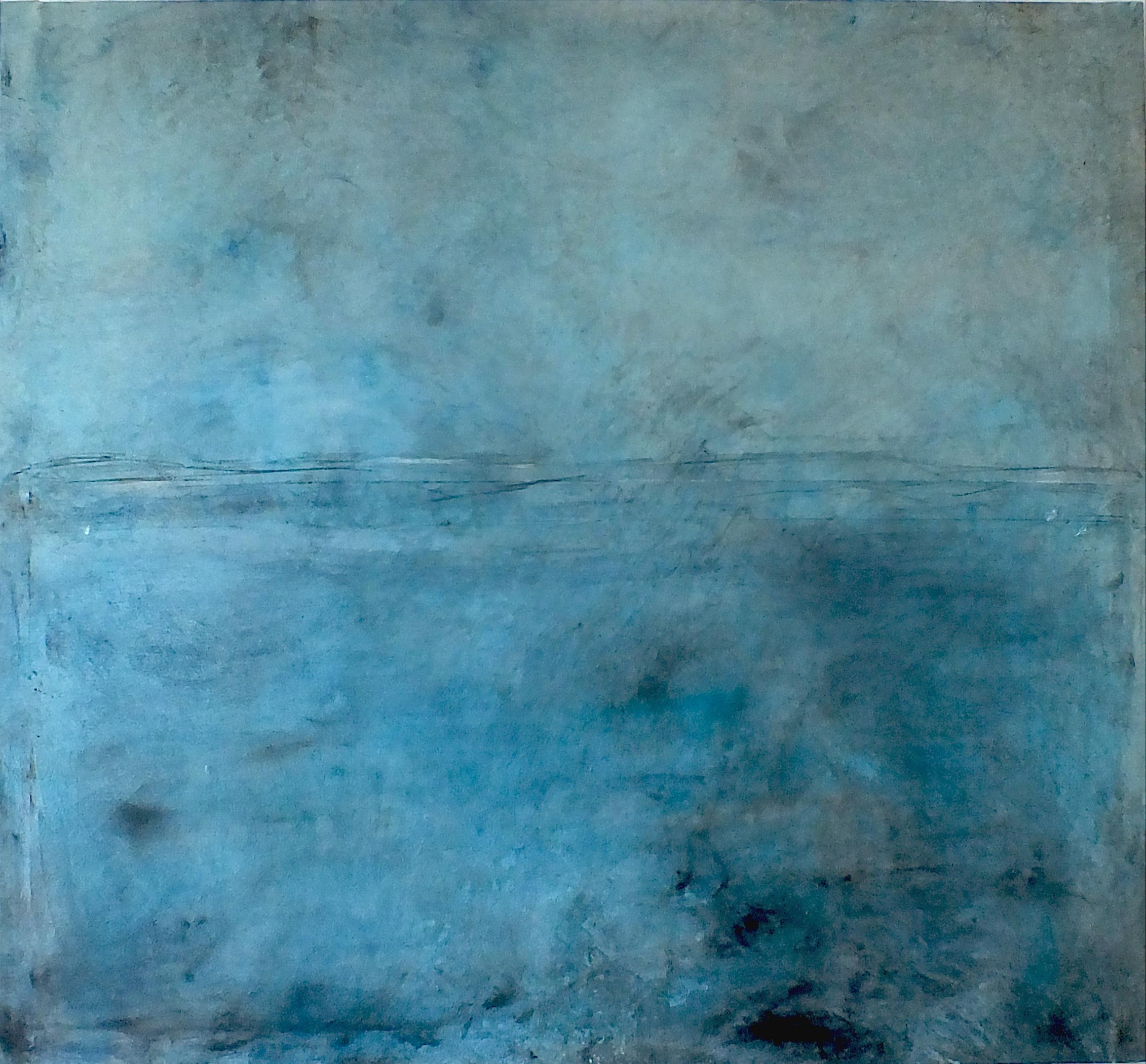 Landscape 75, Contemporary Minimalist Art Abstract Mixed media Oil Canvas Blue