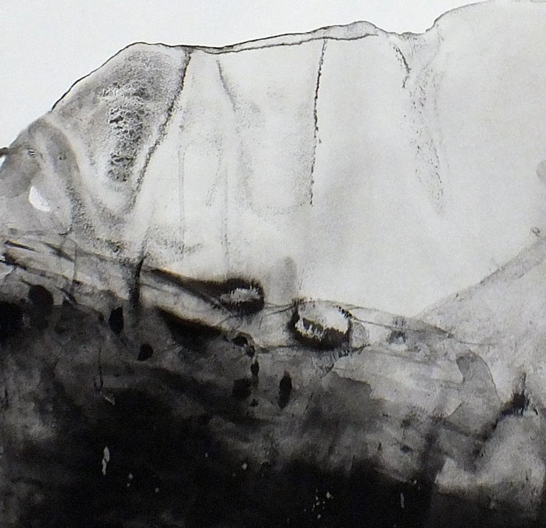 Landscape 76, Contemporary Minimalist Abstract Painting Ink Black White Paper For Sale 1