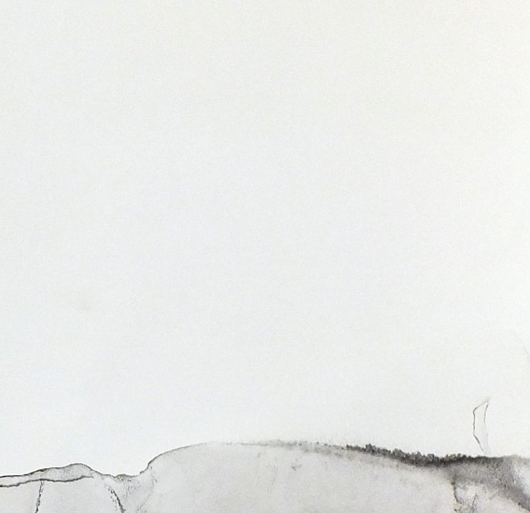 Landscape 76, Contemporary Minimalist Abstract Painting Ink Black White Paper For Sale 3