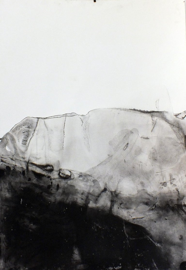 'Landscape 76' is an original minimalist abstract art on canvas by emerging Sicilian artist - Marilina Marchica. It is a delicate ink painting on paper. The subject is focused on Italian nature, sea views, decaying buildings, and charm of the