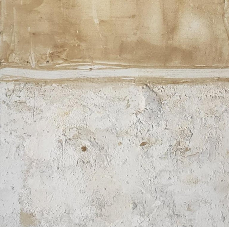 'Landscape 9' is an original minimalist abstract painting on canvas by emerging Sicilian artist - Marilina Marchica. It is a mixed media art piece which has a rich texture and authentic design. The subject is focused on Italian nature, sea views,