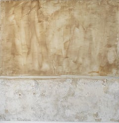 Landscape 9, Contemporary Abstract Art Mixed Media Minimalist White Yellow