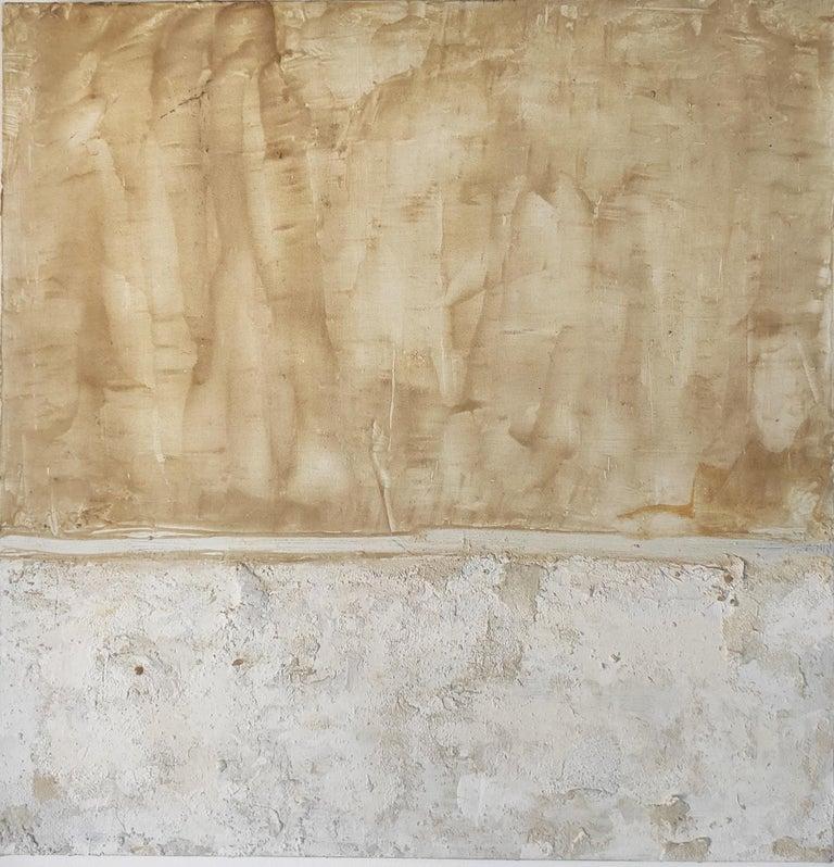 Landscape 9, Contemporary Abstract Art Mixed Media Minimalist White Yellow - Mixed Media Art by Marilina Marchica