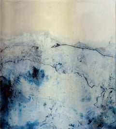 Landscape 90, Contemporary Minimalist Abstract Painting Canvas Blue White Black