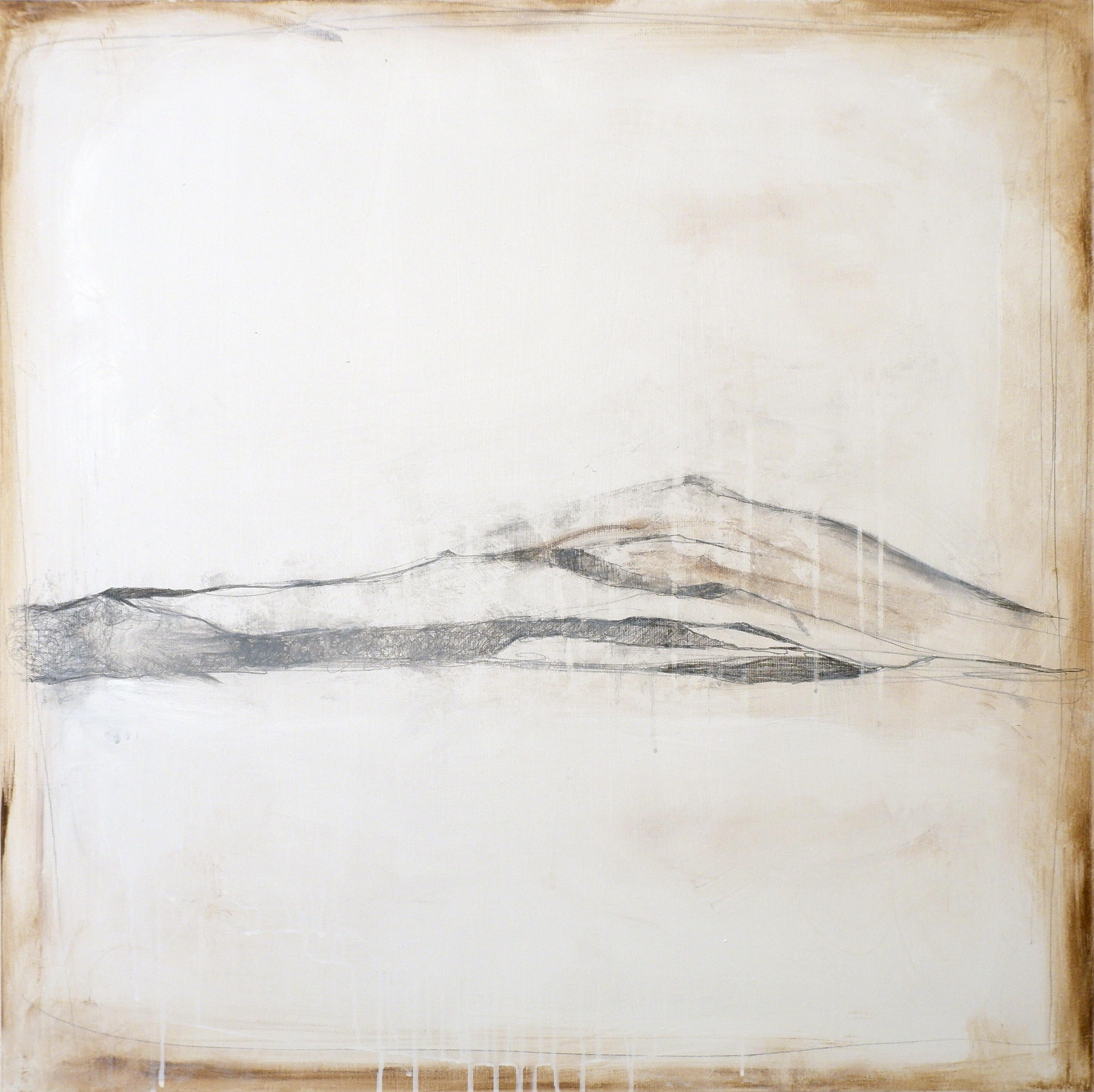 Landscape 91, Contemporary Minimalist Mixed media Abstract Art Canvas Natural