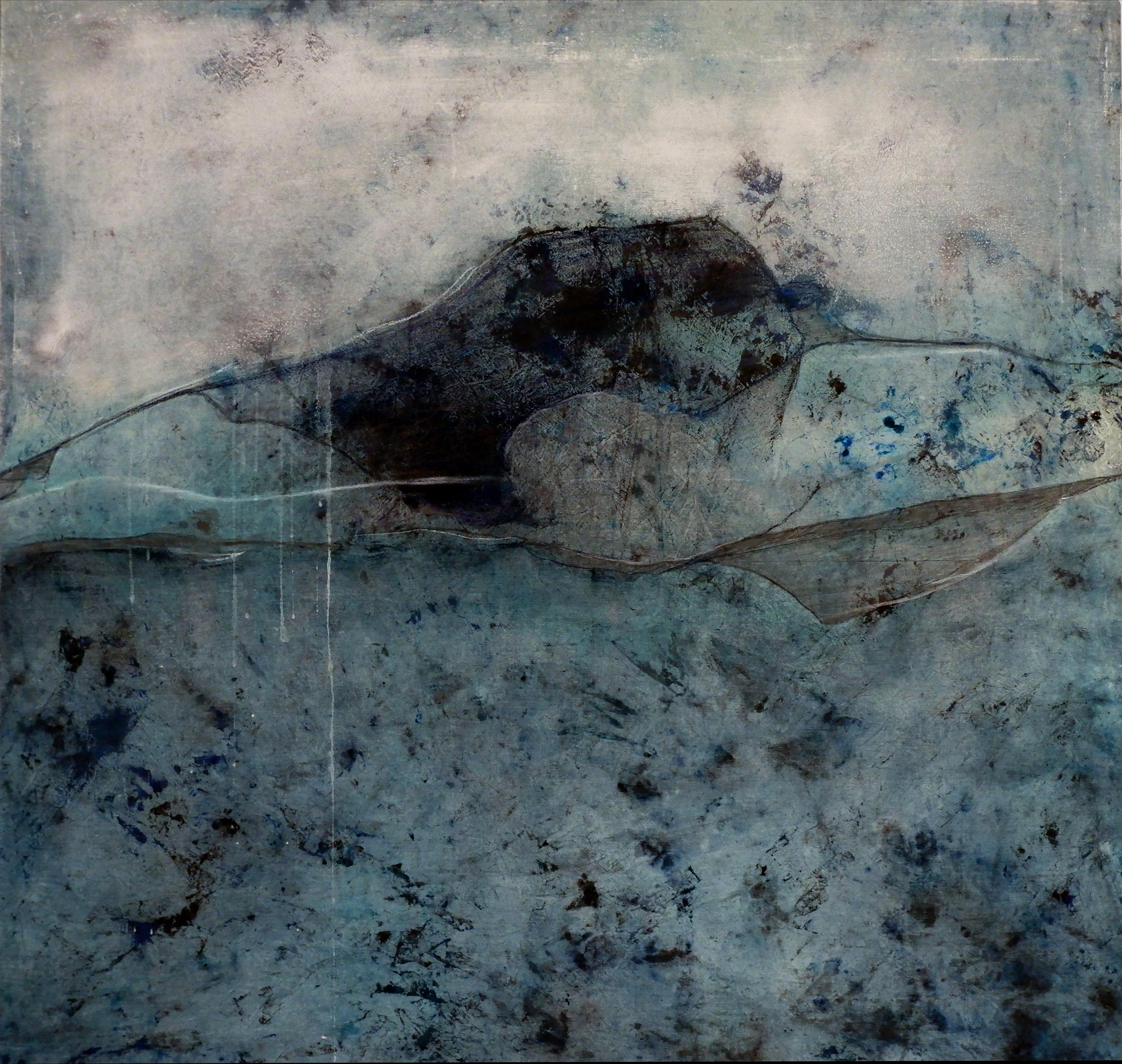 Landscape 95, Contemporary Minimalist Mixed media Abstract Art Canvas Blue Black