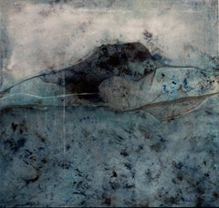 Landscape 95, Contemporary Minimalist Mixed media Abstract Art Canvas Blue Black
