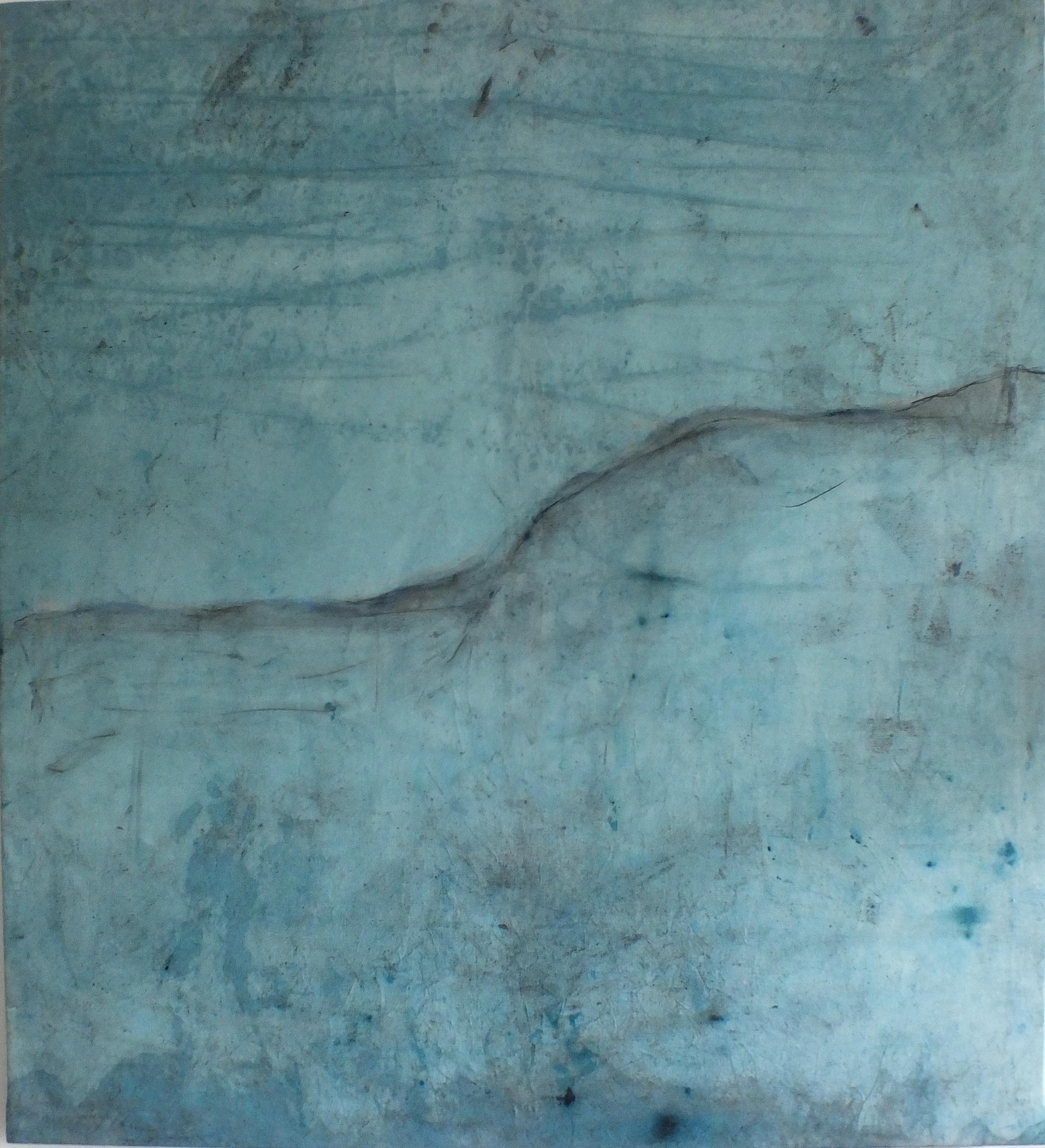 Landscape 97, Contemporary Mixed media Abstract Art Canvas Blue Minimalist