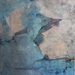 Landscape 98, Contemporary Mixed media Abstract Art Canvas Blue Black Nature