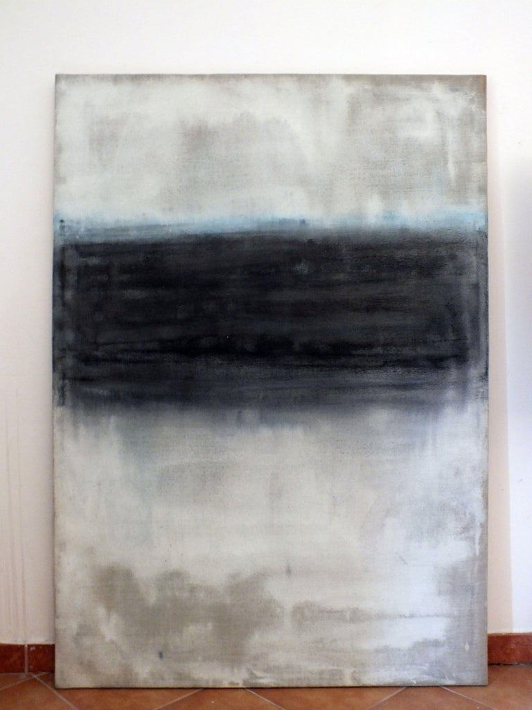 Landscape, Painting, Oil on Canvas - Gray Abstract Painting by Marilina Marchica