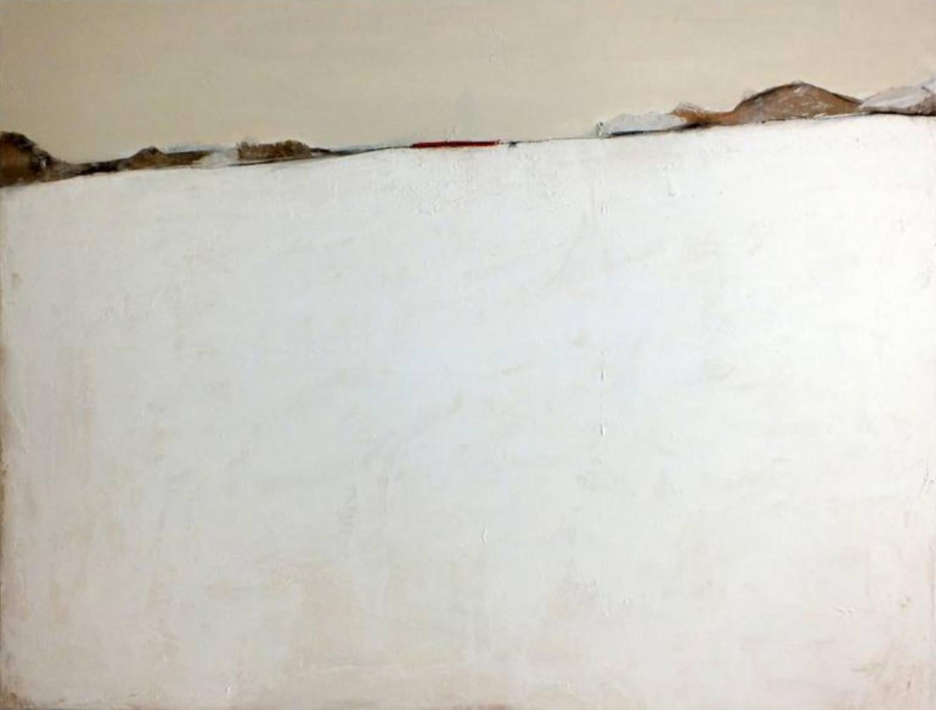 Paper Landscape 1, Contemporary Minimalist Abstract Oil Painting Canvas White