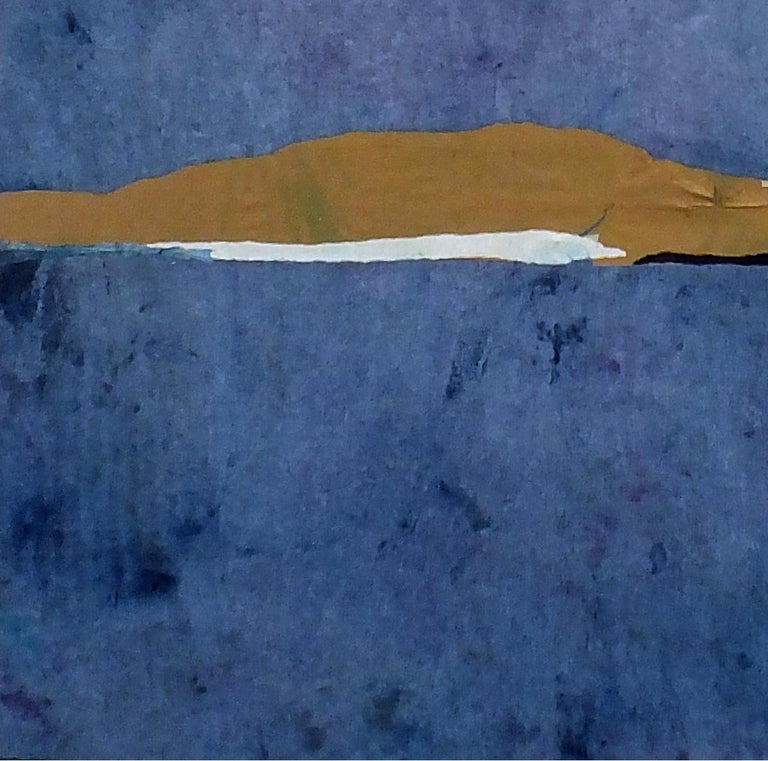 Paper Landscape 10, Contemporary Minimalist Abstract Painting Blue Collage 1